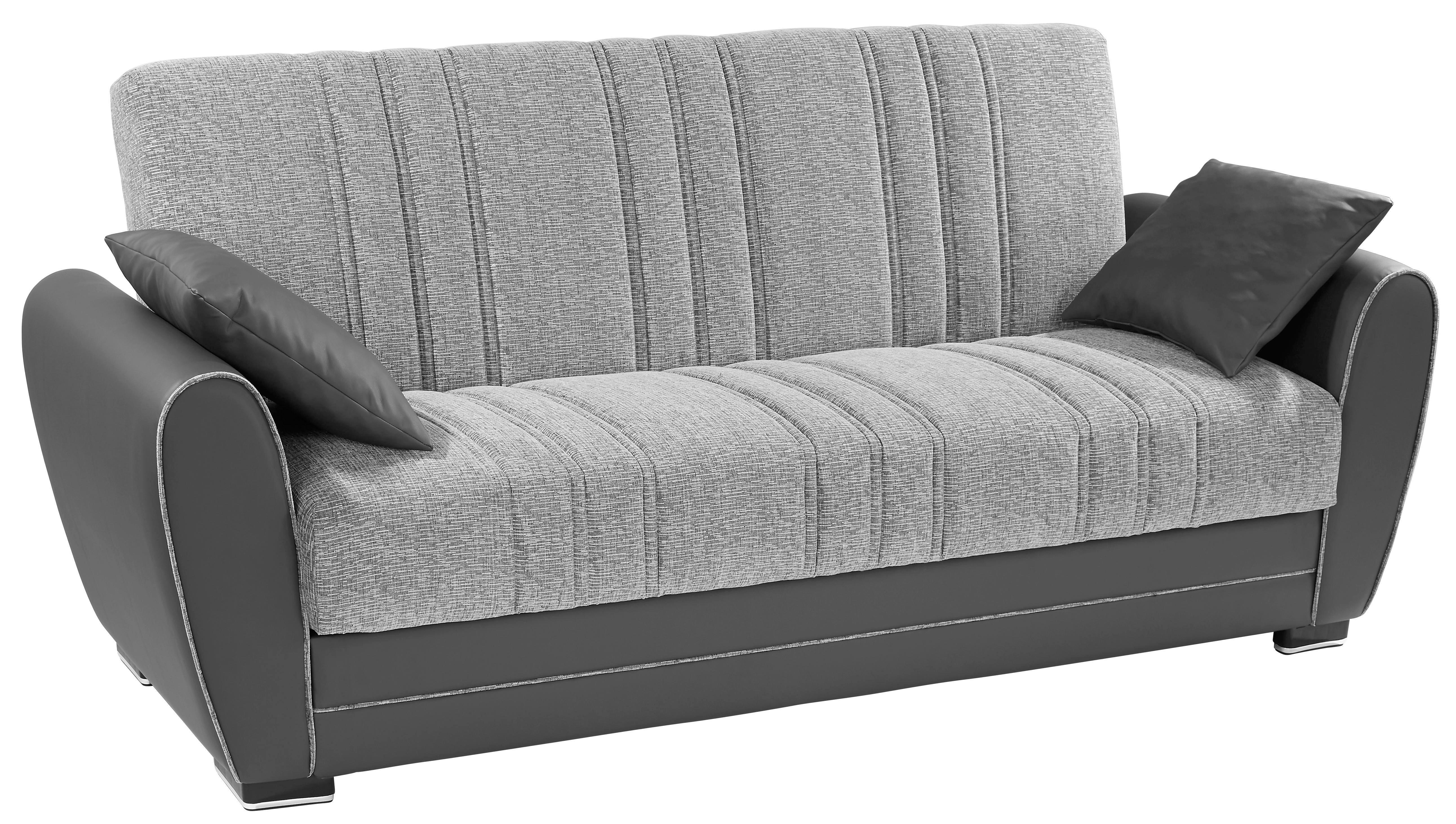 Rozkládací Pohovka Pelin - šedá, Moderní, kov/dřevo (235/85/90cm)