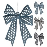 Dekoschleife H:33 cm - Blau/Schwarz, MODERN, Kunststoff (33cm)