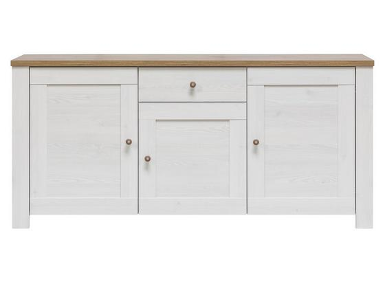 Komoda Noto - bílá, Romantický / Rustikální, dřevo (171/80/40cm)