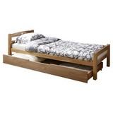 Bett Echtholz inkl. Bettkasten 90x200 Lupo, Buche - Buchefarben, Basics, Holz/Kunststoff (90/200cm) - MID.YOU