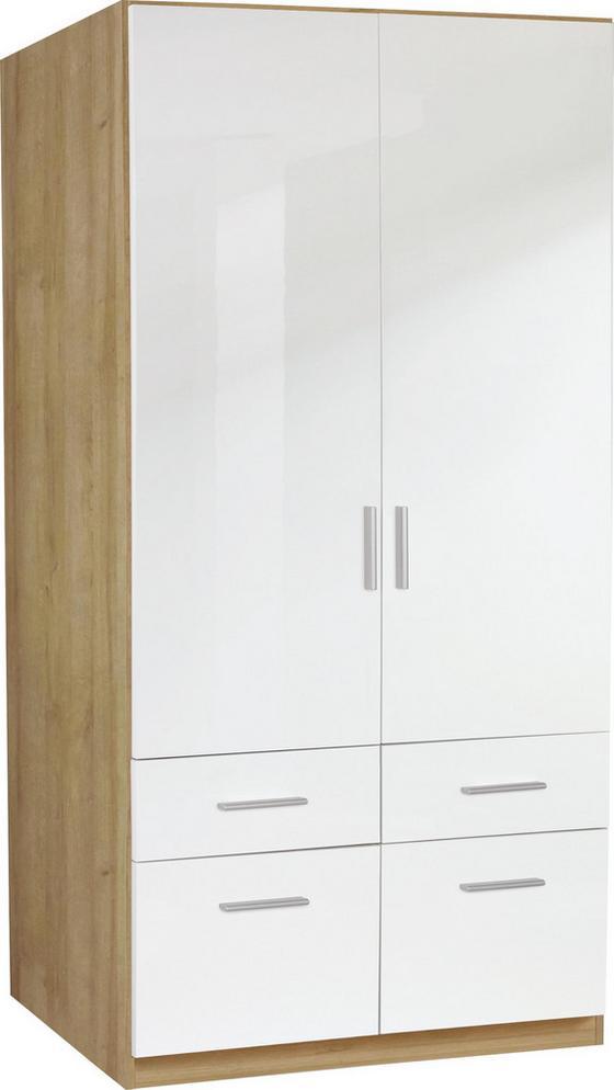Kleiderschrank Celle, 2-türig - Eichefarben/Weiß, MODERN, Holz (91/197/54cm)