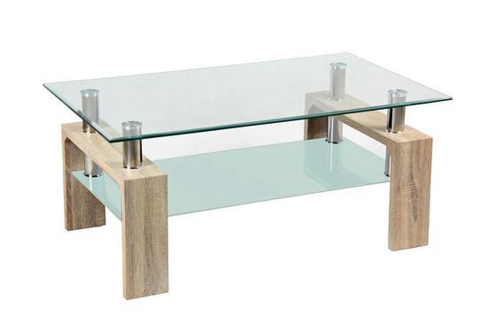 Couchtisch Silvia in Eiche Sonoma Dekor mit Tischplatte aus Glas - Klar/Edelstahlfarben, MODERN, Glas/Holzwerkstoff (100/45/60cm)