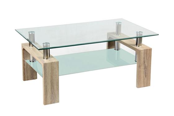 Konferenční Stolek Silvia - barvy dubu/čiré, Moderní, dřevěný materiál/sklo (100/45/60cm)