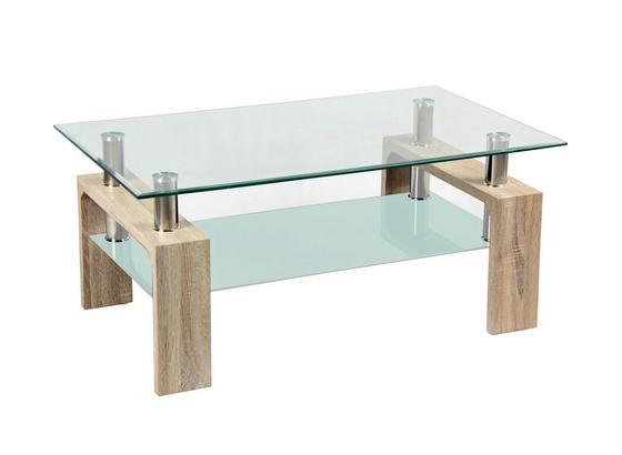 Konferenčný Stolík Silvia - farby dubu/číra, Moderný, kompozitné drevo/sklo (100/45/60cm)