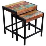 Satztisch Faro B: 45 cm Recyclingholz - Multicolor/Schwarz, Basics, Holz/Metall (45/50/35cm)