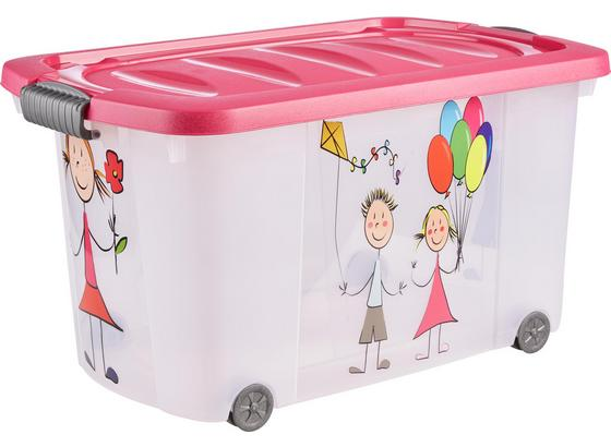 Uskladňovací Box Kiddys - pink/transparentné, plast (60/38/32cm)