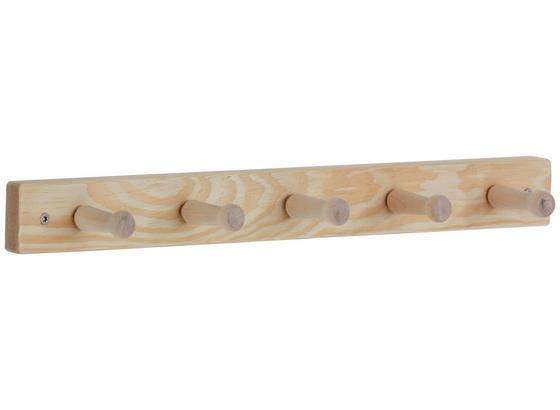Lišta S Háčky Clip 05 - barvy borovice, Moderní, dřevo (49,5/4,9/7,2cm)