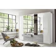 Drehtürenschrank mit Spiegel 270cm Sumatra, Weiß/Hellgrau - Hellgrau/Weiß, KONVENTIONELL, Holzwerkstoff (270/210/58cm) - Livetastic