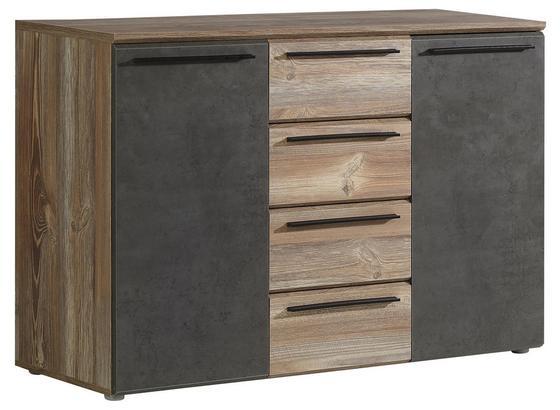 Kommode Mindi Idmk233 B:120cm Picea Kiefer Dekor/ Betonoptik - Dunkelgrau/Schwarz, MODERN, Holzwerkstoff/Kunststoff (119,6/80,8/41,3cm)