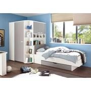 Eckschrank Begehbar mit Regal 146,4cm Yorisd, Weiß/Grau - Weiß/Grau, Design, Holzwerkstoff (146,4/199/133cm) - MID.YOU