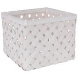 Košík Cubus - L - biela/svetlosivá, Romantický / Vidiecky, ďalšie prírodné materiály (31/31/24cm)