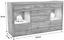 Sideboard Tizio - Eichefarben/Silberfarben, MODERN, Glas/Holzwerkstoff (179,4/86,8/41cm)