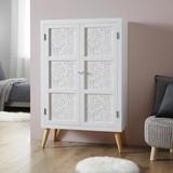 Skříň Valentina - bílá/barvy pinie, Moderní, dřevo (80/128,5/36cm) - Modern Living