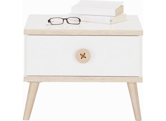 Noční Stolek Billund - bílá/barvy dubu, Moderní, dřevo/kompozitní dřevo (52/40/38cm) - Modern Living