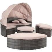Gartenmuschel Florida Aus Polyrattan mit Dach und Kissen - Beige/Braun, MODERN, Kunststoff/Textil (200/72/200cm) - Luca Bessoni