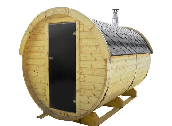 Saunafass SF3.0 mit int. Steuerung 190x190x300 - Naturfarben, Design, Holz (190/190/300cm)