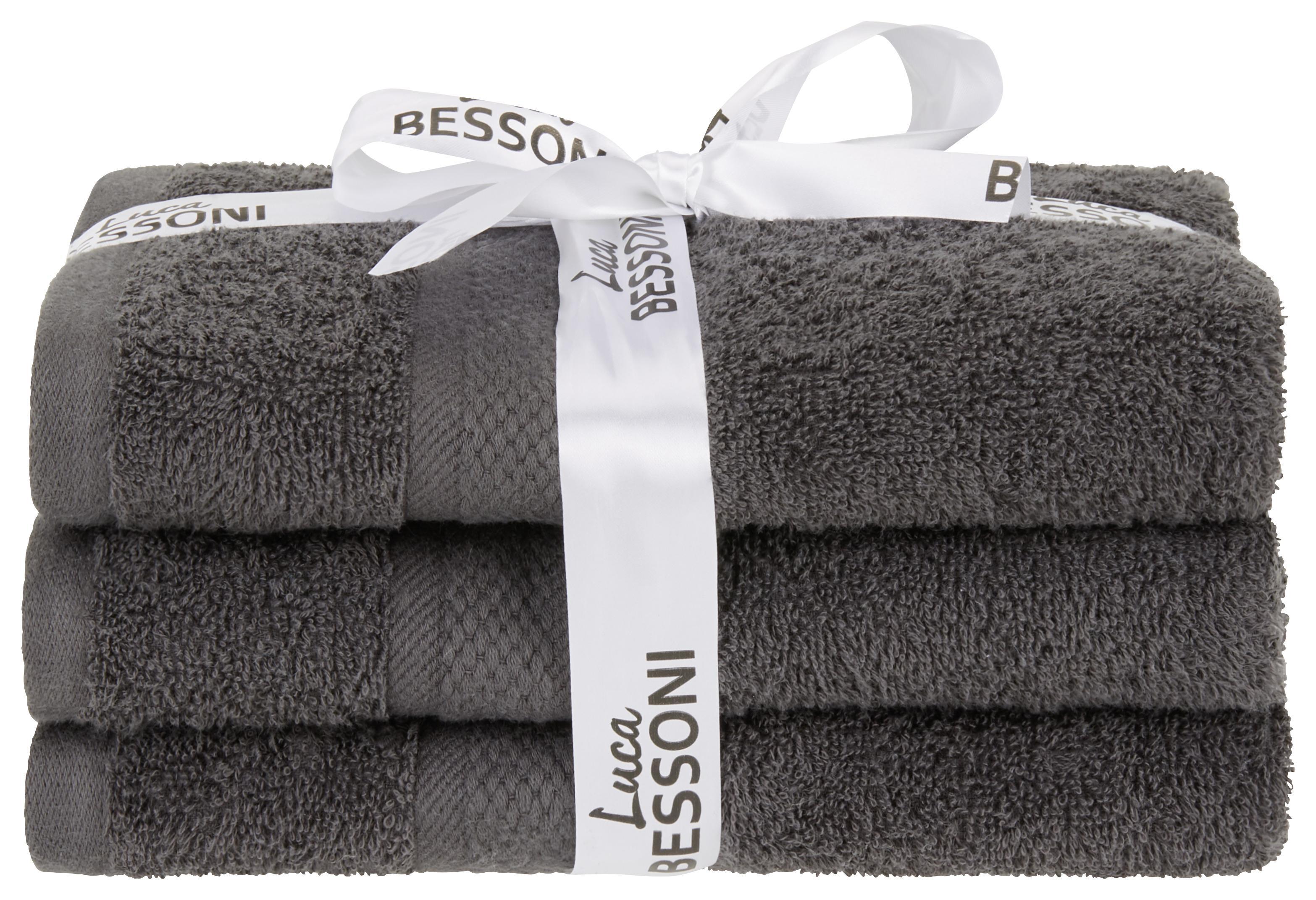 Anthrazitfarbene Handtücher im Set aus 3 Stück