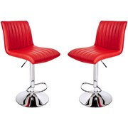 Barhocker Party 2er Set - Chromfarben/Rot, MODERN, Textil/Metall (43/91-112/54cm) - Luca Bessoni