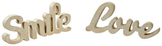 Dekobuchstaben Smile oder Love - Taupe, KONVENTIONELL, Holz (32/14/2,5cm)