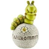 Dekoraupe Willkommen - Grau/Grün, KONVENTIONELL, Stein (22/37cm) - Ombra