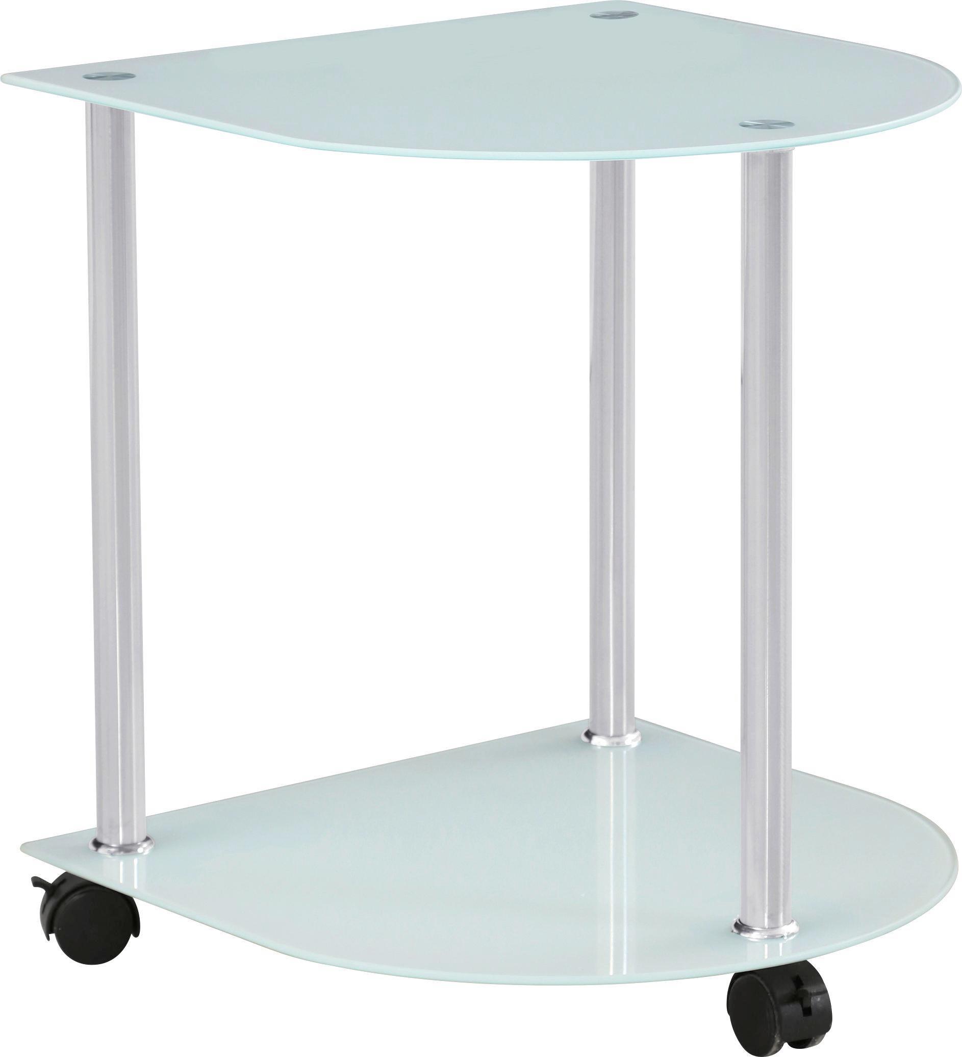 Kisasztal Klaus - fehér/nemesacél színű, modern, üveg/fém (40/45/40cm)