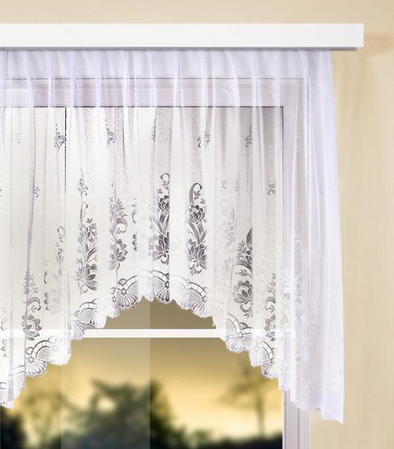 Virágos Vitrázs Függöny Andrea - fehér, konvencionális, textil (450/145cm) - OMBRA