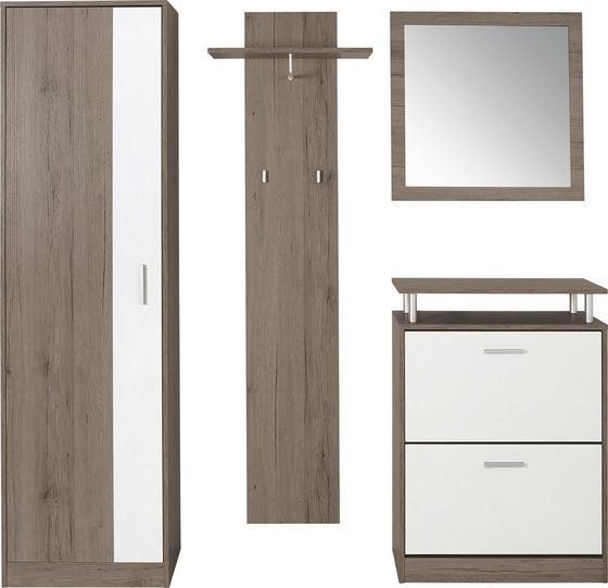 Šatna Pop - bílá/hnědá, Moderní, dřevěný materiál/sklo (179/190/32cm)