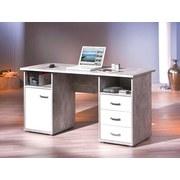Schreibtisch mit Stauraum B 148cm H 60cm Florus, Beton - Weiß/Grau, Basics, Holzwerkstoff (148/60/75cm) - Livetastic