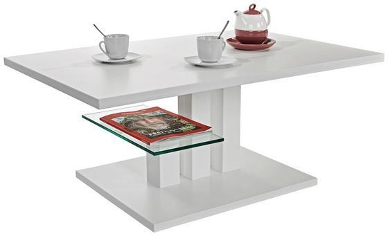 Konferenčný Stolík Bergamo - biela, Moderný, kompozitné drevo/sklo (110/44/70cm)