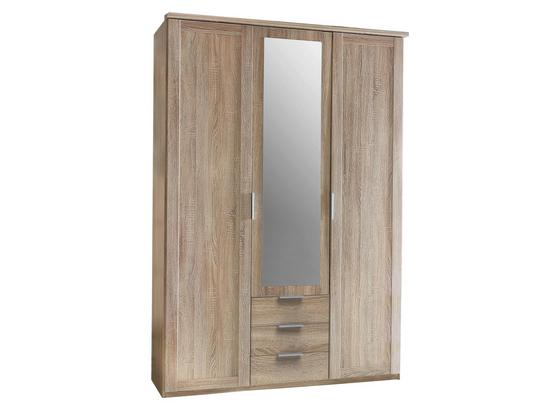 Drehtürenschrank mit Spiegel 135cm Nadja, Eichendekor - Eichefarben, KONVENTIONELL, Glas/Holzwerkstoff (135/210/58cm) - Cantus