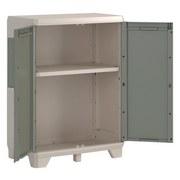 Geräteschrank Wood Grain Nieder 68 cm - Hellgrau/Grau, Basics, Kunststoff (68/39/97cm) - Keter