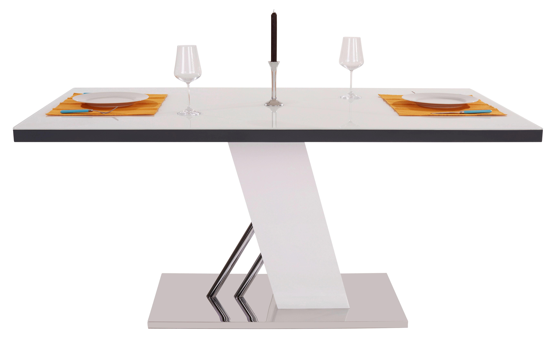 Étkezőasztal Metz 160 - fehér/nemesacél színű, modern, üveg/fém (160/76/90cm)