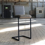 Barhocker-Set Block 2-er Set Olivgrün - Schwarz/Olivgrün, Basics, Leder/Metall (50/113/43cm) - Livetastic