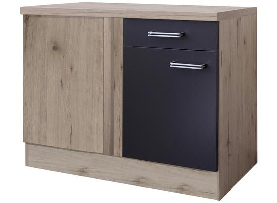 Rohová Spodní Skříňka Milano - barvy dubu/antracitová, Moderní, kompozitní dřevo (110/86/60cm)