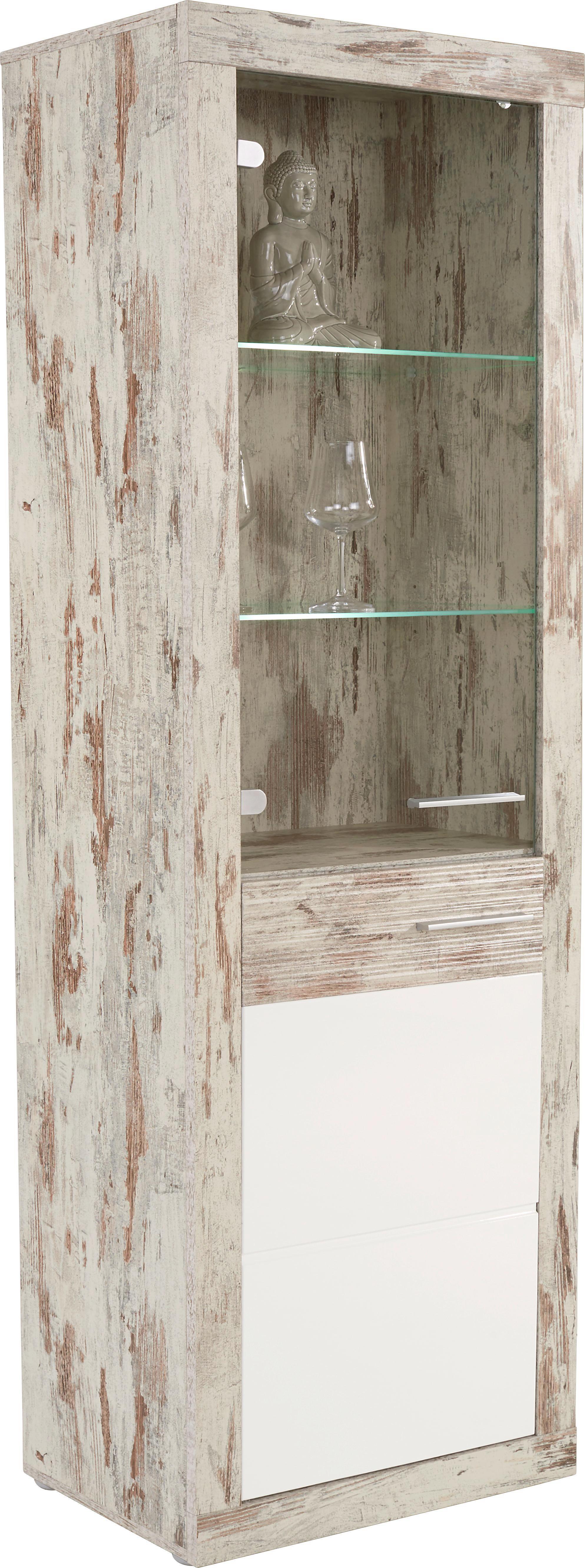 Vitrin Re - tölgy színű/fehér, modern, faanyagok (63,9/196,6/34,9cm)