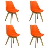 Stuhl-Set Woody 4-Er Set Orange - Naturfarben/Orange, MODERN, Holz/Kunststoff (48/83/48cm) - MID.YOU