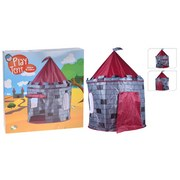 Spielzelt Grau/Rot Burg B: 105 cm - Dunkelgrau/Hellgrau, Basics, Textil (105/125cm)