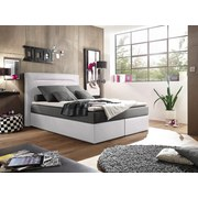 Boxspringbett Cardiff 1 ca. 140x200 cm - Silberfarben/Weiß, Trend, Holzwerkstoff/Textil (140/200cm) - Carryhome