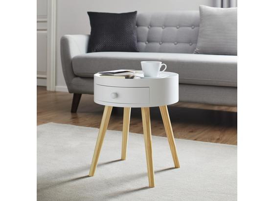 Nočný Alebo Odkladací Stolík Damian - biela/farby pínie, Moderný, drevo (38/45cm) - Modern Living