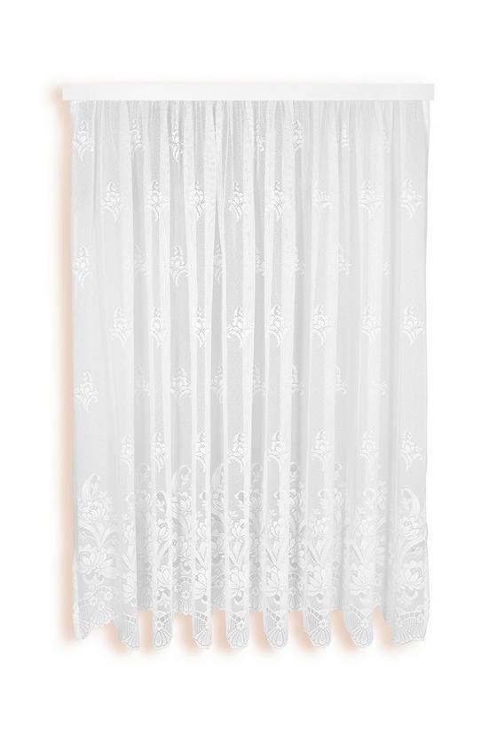 Virágos Vitrázs Függöny Andrea - fehér, konvencionális, textil (300/175cm) - OMBRA