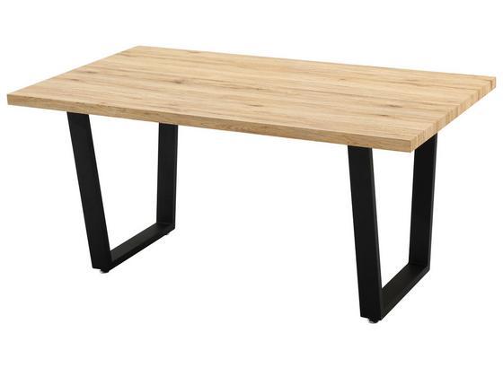 Jedálenský Stôl Rudi - farby dubu/čierna, Moderný, kov/drevo (160/75/90cm)