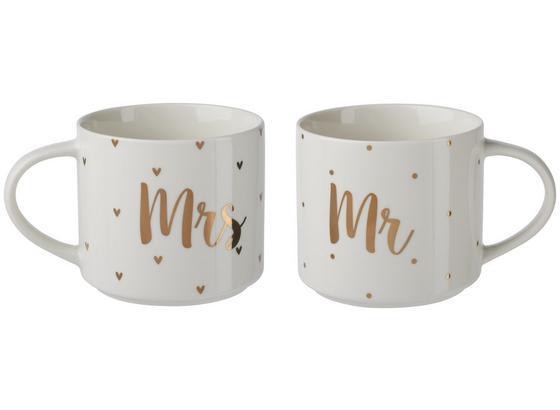 Šálka Na Kávu Marry - biela/zlatá, Moderný, keramika (10/8,8cm) - Premium Living
