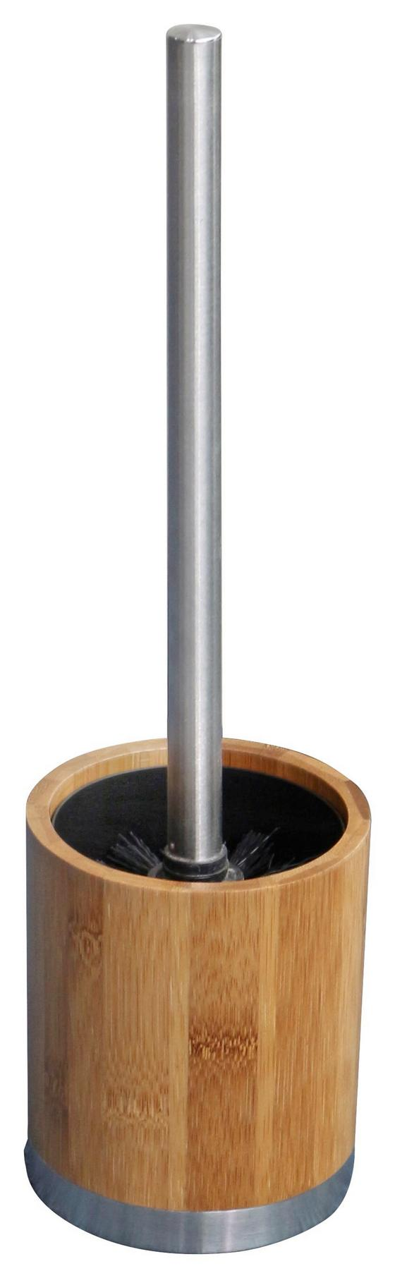 WC-Bürstengarnitur Rainbow - Edelstahlfarben/Braun, KONVENTIONELL, Holz/Kunststoff (9,7/35,5/9,7cm) - Homezone
