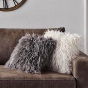 Zierkissen Hairy - Silberfarben, MODERN, Textil (50/50cm) - Luca Bessoni