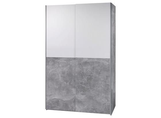 Skriňa S Posuvnými Dvermi Poly 1 - sivá/biela, Moderný, kompozitné drevo (125/195,5/58,5cm)