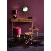 Beistelltisch Scan B: 115 cm - Goldfarben/Naturfarben, Design, Holz/Metall (115/82/43cm)