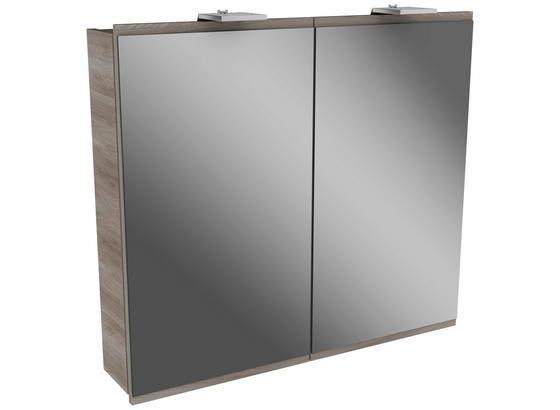 Spiegelschrank mit Türdämper + Led Lima B: 80cm Esche Dekor - MODERN, Glas/Holz (80/73/15,5cm) - Fackelmann