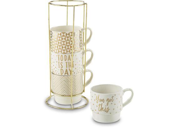 Šálek Na Kávu Goldy - bílá/barvy zlata, Moderní, kov/keramika (8,8/8,5cm) - Premium Living