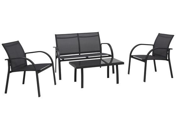 Loungegarnitur Kansas Textilene/Stahl 4-Teilig - Schwarz/Grau, MODERN, Glas/Textil (4cm) - Ombra