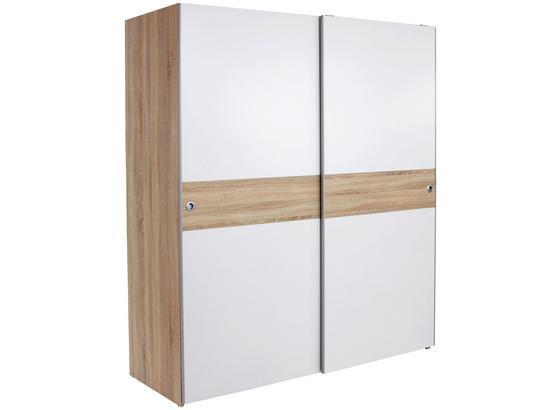 Schwebetürenschrank 170cm Wiki, Weiß/ Sonoma Eiche Dekor - Weiß/Sonoma Eiche, KONVENTIONELL, Holzwerkstoff (170/196/60cm)